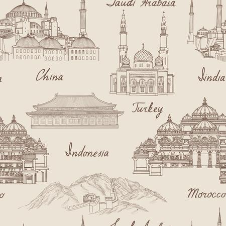 built: Travel Asia background. World famous landmark seamless pattern. Asian countries traditional architectura travel seamless pattern. Vacation in Asia wallpaper. Landmark tiled grunge pattern.