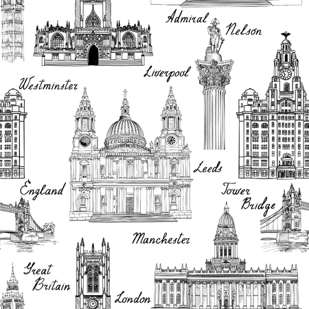 famous cities: Travel  England UK famous cities landmark with handmade calligraphy. London city, Manchester, Liverpool, Leeds seamless pattern for your design. seamless pattern. Famous architectural monuments  and buildings engraved sketch textured background