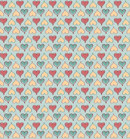 floral elements: Abstract love hearts seamless pattern. Retro background with hearts