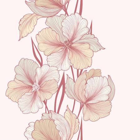 Floral background. Greeting card with flower. Flourish border. Gentle decor with summer flower dahlia. Gentle flourish vector illustration