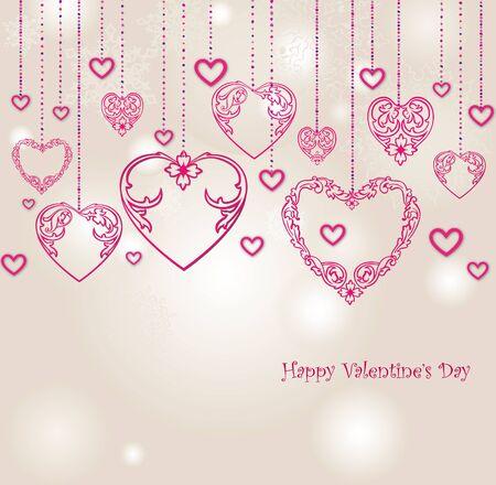 wedding heart: Valentines Day Border Design. Love heart  Valentines day background. Happy valentines day greeting card. Illustration