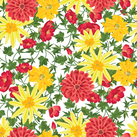 victorian pattern: Floral background. Floral seamless patter with summer flowers. Floral bouquet with wildflower. Illustration
