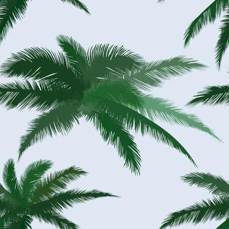 tiled: Floral tiled background. Summer leaves flourish seamless pattern. Plam leaf vector illustration