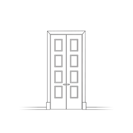 fear: Opened door isolated. Two black contoured doors opening to the room