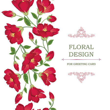 roses garden: Floral background. Floral frame with summer flowers. Floral bouquet with wildflower. Vintage Greeting Card with flowers. Ornamental decorative flourish border. Illustration