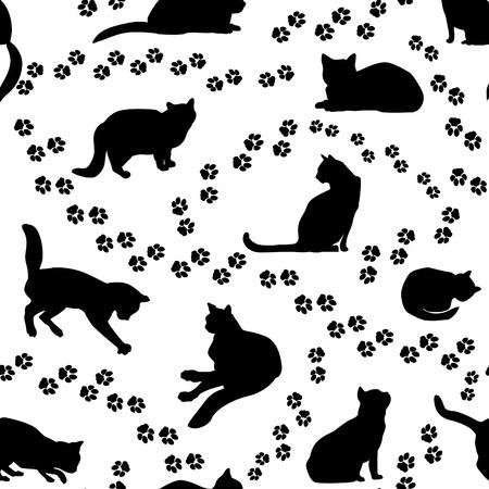 huellas de animales: Modelo inconsútil de los gatos. Silueta del gato y el animal sigue el patrón sobre el fondo blanco. Vectores