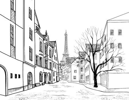Paris Straße. Stadtbild - Häuser, Gebäude und Baum auf Gasse mit Eiffil Turm im Hintergrund. Blick auf die Altstadt. Mittelalterliche europäische Stadtlandschaft. Bleistift gezeichnet Vektor-Skizze