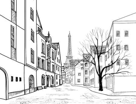 london city: Paris street. Cityscape - houses, buildings and tree on alleyway with Eiffil tower on background. Old city view. Medieval european city landscape. Pencil drawn vector sketch