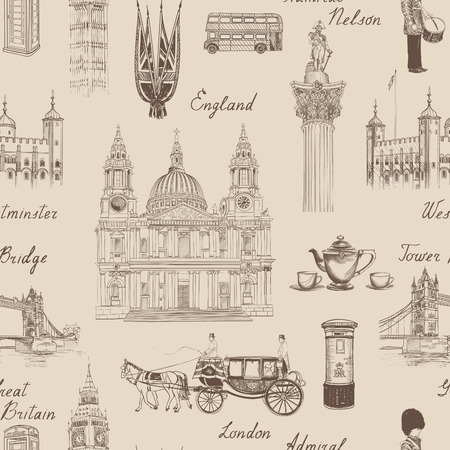 London landmark seamless pattern. Doodle travel Europe sketchy lettering. Famous architectural monuments  and symbols. England vintage icons vector textured background