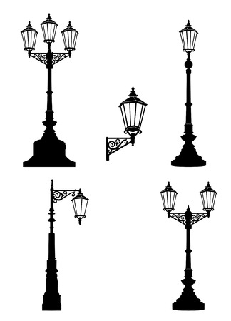 Street lamp set. Street lights retro collection.