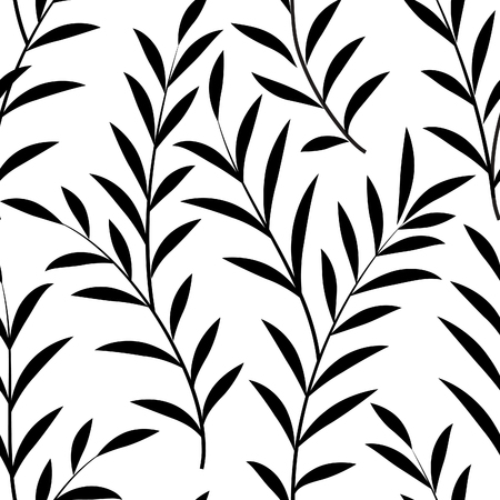 Abstract floral pattern Floral leaves silhouette black and white texture. Stylish abstract vector plant ornamental background