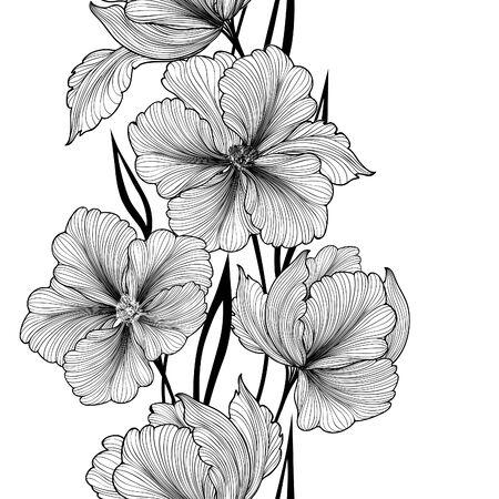 Sfondo floreale. Biglietto di auguri con il fiore. confine prosperare. arredamento delicato con dalia estate fiore. In bianco e nero illustrazione vettoriale