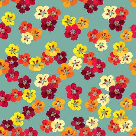 nasturtium: Floral seamless pattern. Flower nasturtium background. Floral tile spring texture with flowers.