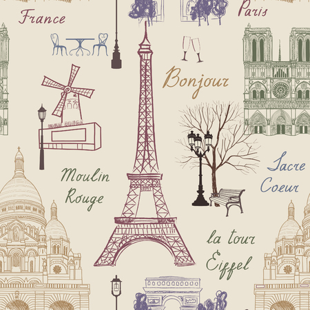 bonjour: Travel Paris seamless pattern. Vacation in Europe wallpaper. Travel to visit famous places of France background. Landmark tiled grunge pattern.