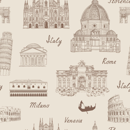 famous painting: Travel tiled background. Italy famous landmark seamless pattern. Italian city architectura travel sketch.