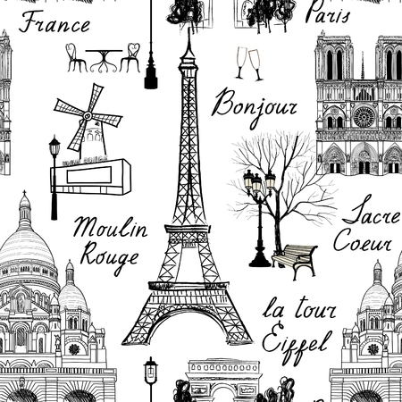 paris: Travel Paris seamless pattern. Vacation in Europe wallpaper. Travel to visit famous places of France background. Landmark tiled grunge pattern.