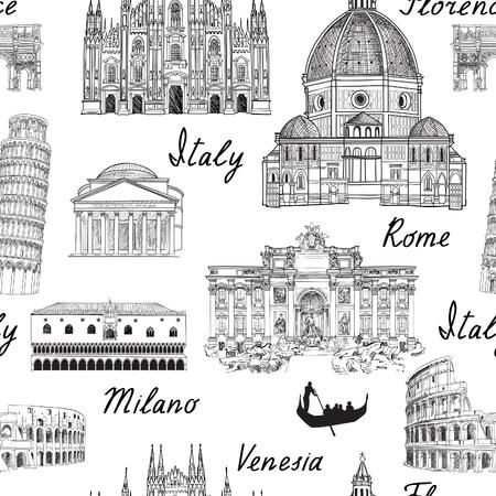 Reisen Europa Hintergrund. Nahtloses Muster des berühmten Wahrzeichens Italiens. Italienische Stadt Architecturaura Reiseskizze. Vektorgrafik
