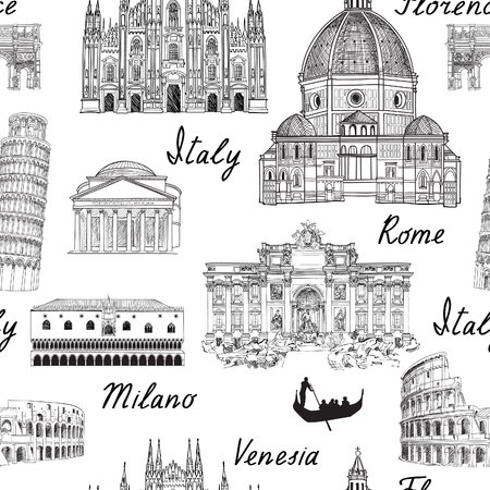 Travel Europe background. Italy famous landmark seamless pattern. Italian city architectura travel sketch. Vettoriali