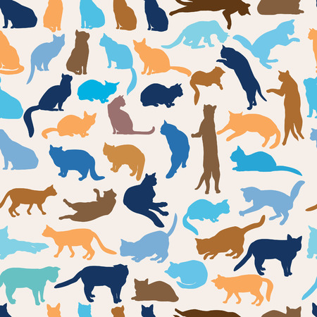black silhouette: Cats seamless pattern. Cat silhouette pattern over white background. Illustration