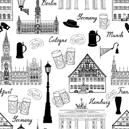 german tradition: Travel seamlss pattern. Visit Germany background with sketch beer mugs. Famous german buildings and landmarks. Vector illustration Illustration