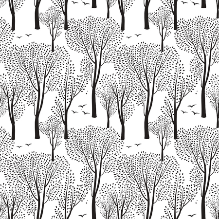 birds in tree: Nature seamless pattern. Forest tiled background. Trees and birds wildlife vector illustration.  Floral black and white wallpaper