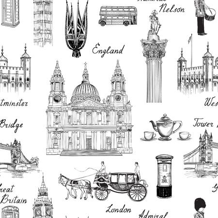 bus anglais: Londres repère pattern. Doodle voyage Europe lettrage sommaire. Célèbre monuments et symboles architecturaux. fond Angleterre icônes cru texturé vecteur Illustration