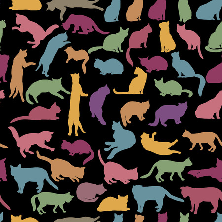 animal silhouette: Cats seamless pattern. Cat silhouette pattern over white background. Illustration