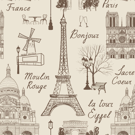 famous places: Travel Paris seamless pattern. Vacation in Europe wallpaper. Travel to visit famous places of France background. Landmark tiled grunge pattern.
