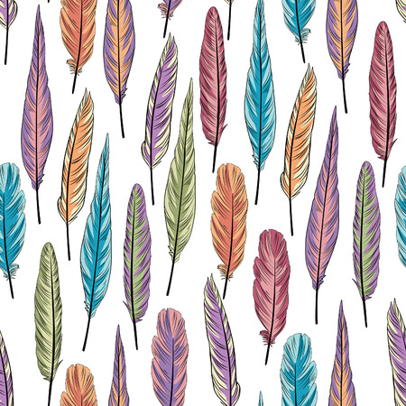 an amulet: Feather seamless pattern. Colorful vector illustration of feathers over white background