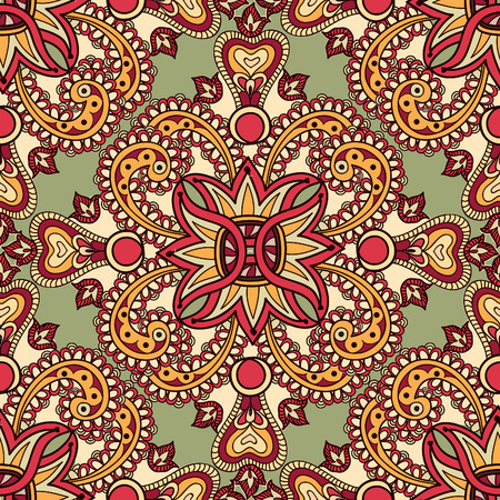 edge design: Flourish tiled floral geometric seamless pattern. Abstract oriental background. Fantastic flowers and leaves. Wonderland ornament motives of the paintings of arabic mandala. Indian fabric pattern.