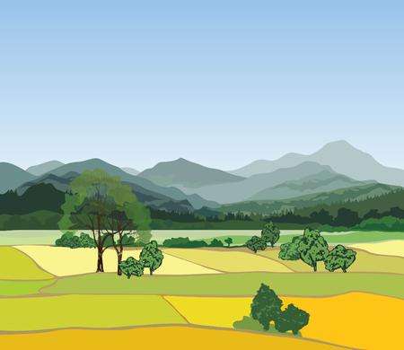 Sunset landscape vector: cảnh quan nông thôn với những ngọn núi. Vector khung cảnh thôn dã với rừng, lĩnh vực và đồi Hình minh hoạ
