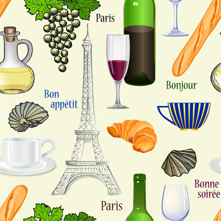 Travel Paris cuisine seamless pattern Famous french food wallpaper