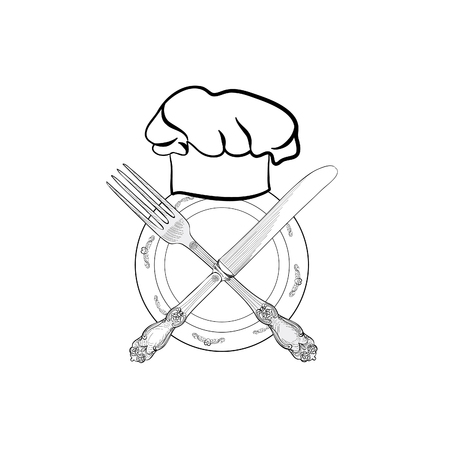Chef cook hat with fork and knife hand drawing sketch label. Cutlery icon. Vector Catering and restaurant service insignia. Restaurant symbol chef cook hat. Vektorové ilustrace