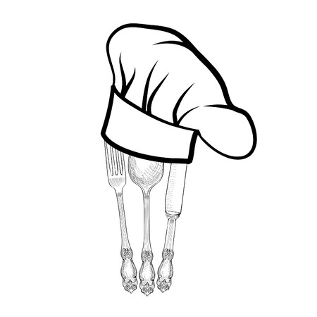 replaceable: Chef cook hat with fork, spoon and knife hand drawing sketch label. Cutlery icon. Vector Catering and restaurant service insignia. Restaurant symbol chef cook hat.