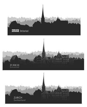 Zurich city, Switzerland. Skyline silhouette sset. Vector cityscape. Travel famous european cities set Illustration