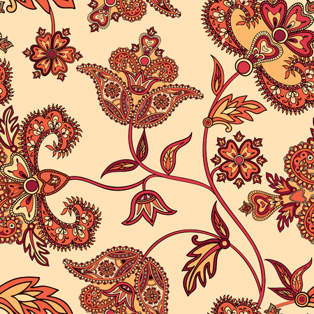 ancient paper: Flourish tiled pattern. Floral oriental ethnic  background. Arabic ornament with fantastic flowers and leaves. Wonderland motives of the paintings of ancient Indian fabric patterns.