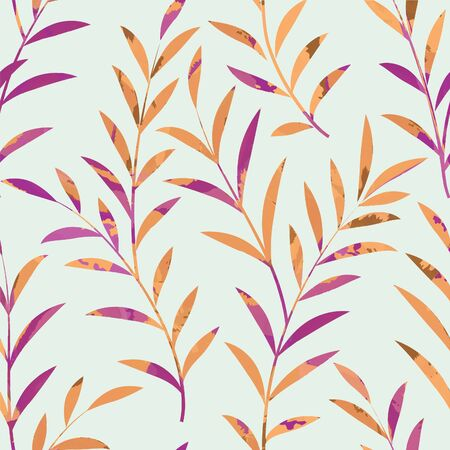 Floral seamless pattern. Leaves background. Nature ornamental texture with plant leaf.