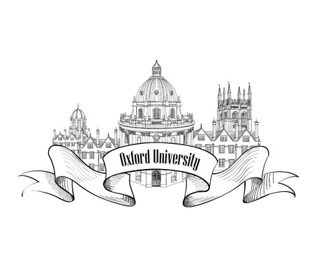 oxford: Oxford Univercity label. Oxford city skyline engraved. Arcchitectural famous buildings set. Travel UK sign Illustration