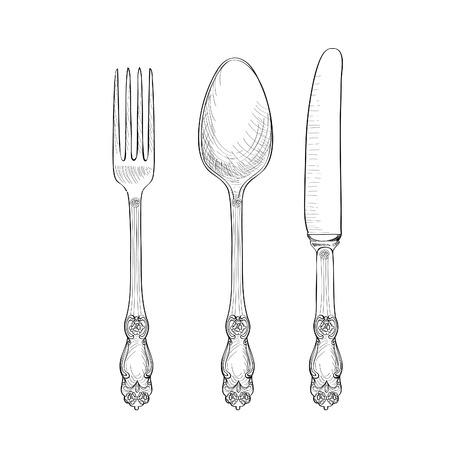 stravování: Vidlice, nůž, sada Spoon náčrtu. Příbory kolekce ruční kreslení. Catering ryté vektorové ilustrace. zdrženlivost symbol