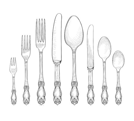 cutleries: Table setting set. Fork, Knife, Spoon  sketch set. Cutlery hand drawing collection. Catering engraved vector illustration. Restraunt service.  Banquet  still life