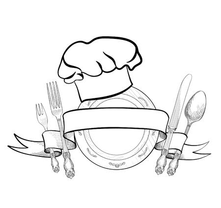 Chef Cuisinier chapeau avec fourchette, cuillère, couteau et plaque dessin étiquette croquis main. Couverts icône. Vector Restauration et service de restauration insignes. Restaurant symbole chef cuire chapeau.