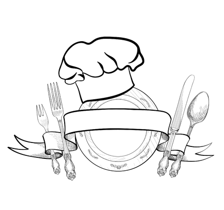 Chef cook hat with fork, spoon, knife and  plate hand drawing sketch label. Cutlery icon. Vector Catering and restaurant service insignia. Restaurant symbol chef cook hat.