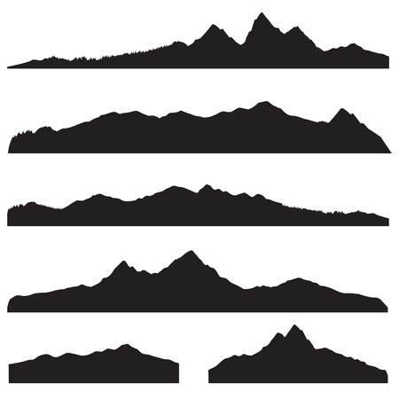 Mountains landscape silhouette set. Abstract high mountain border background collection
