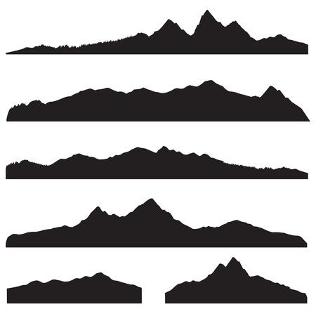 Het landschap van bergen silhouet set. Abstracte hoge berg grens achtergrond collectie