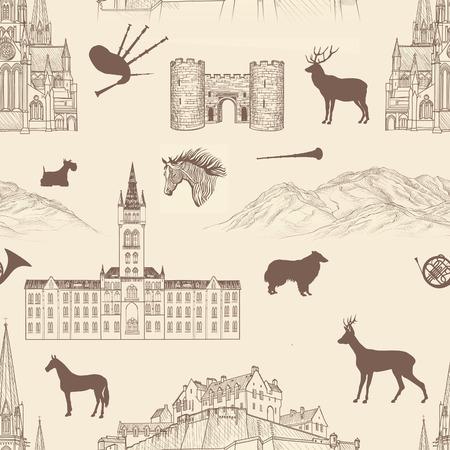 gaita: Viajar Escocia ciudades famosas hito con la caligrafía hecha a mano. Edimburgo, Glasgow, modelo inconsútil de la ciudad de Aberdeen para su diseño. monumentos y edificios grabado boceto fondo con textura de arquitectura del Reino Unido Vectores