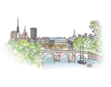 Paris cityscape with Seine embankment. Old city spring view. Street shops and cafe in Paris city. Cityscape - houses, buildings and tree on alleyway. Illustration