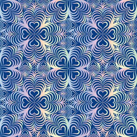 patrón transparente geométrica floral abstracto. Línea ornamento del remolino oriental textura. amor del corazón de la onda forma efecto óptico de fondo ornamental. Ilustración de vector