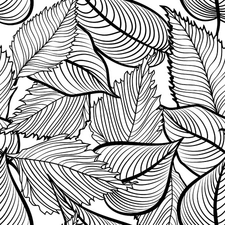 autumn motif: Floral seamless pattern. Leaves background. Nature ornamental texture with  plant  leaf. Black and white floral pattern