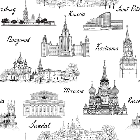 russian: Travel Russia seamless engraved architectural pattern. Famous Russian cities and monuments. Landmarks of Moscow, Saint Petersburg, Suzdal, Kolomna and other russian cities. Travel background.