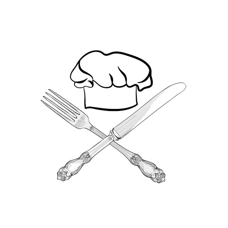 replaceable: Chef cook hat with fork and knife hand drawing sketch label. Cutlery icon. Vector Catering and restaurant service insignia. Restaurant symbol chef cook hat.